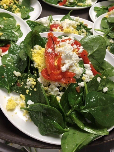 5 Baby spinach Salad with goat cheese roasted julienne red peppers and sliced hard boiled eggs with a warm bacon vinaigrette - Entrees