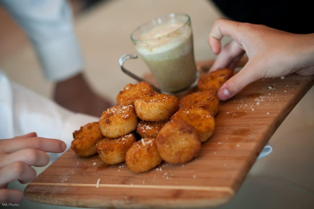 Coffee   Donuts Risotto balls with Mushroom Basil Dip 1024x682 - Butlered Hors d'oeuvres