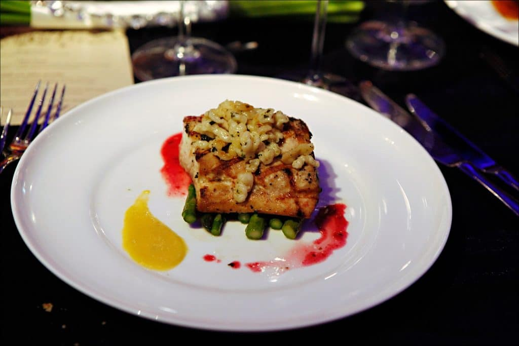 Halibut with Color coordinated sauces 1024x683 - Entrees